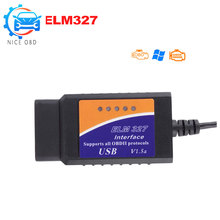 Mini ELM327 USB OBD 2 Auto Diagnostic Tools works on PC with High Quality OBDII USB ELM 327 mini Car Code Reader Via USB Cable(China)