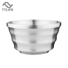 TTLIFE 2017 New Thickening Stainless Steel Dinner Double Layer Heat Insulation Bowl Kitchen Dinnerware Child Adult Salad Bowl