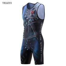 TELEYI Men One Piece Compressed Cycling Jersey Professional Triathlon Outdoor Sports Wear Quick Dry S-4XL