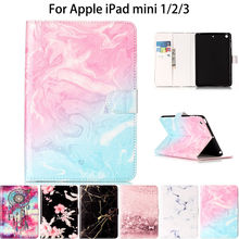 Fashion Flower Marble Pattern Cover For Apple iPad Mini 3 2 1 Case Covers Funda Tablet Soft TPU Silicone PU Leather Stand Shell(China)