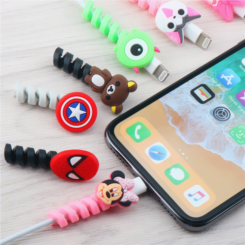 2PCS Cartoon Cable Protector Spiral Tube Cable Winder Wire Organizer Cord holder cable title=