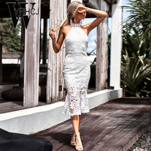 Buy WYHHCJ 2018 sexy backless summer dress strapless halter high waist patchwork women dress hot bodycon lace party dresses robe