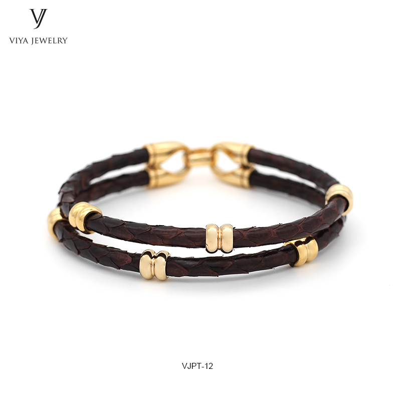 GENUINE PYTHON LEATHER MEN BRACELET WITH GOLD COLOR STAINLESS STEEL BEADS CLASP,BEST GIFT FOR MATCH UP WATCH (6)