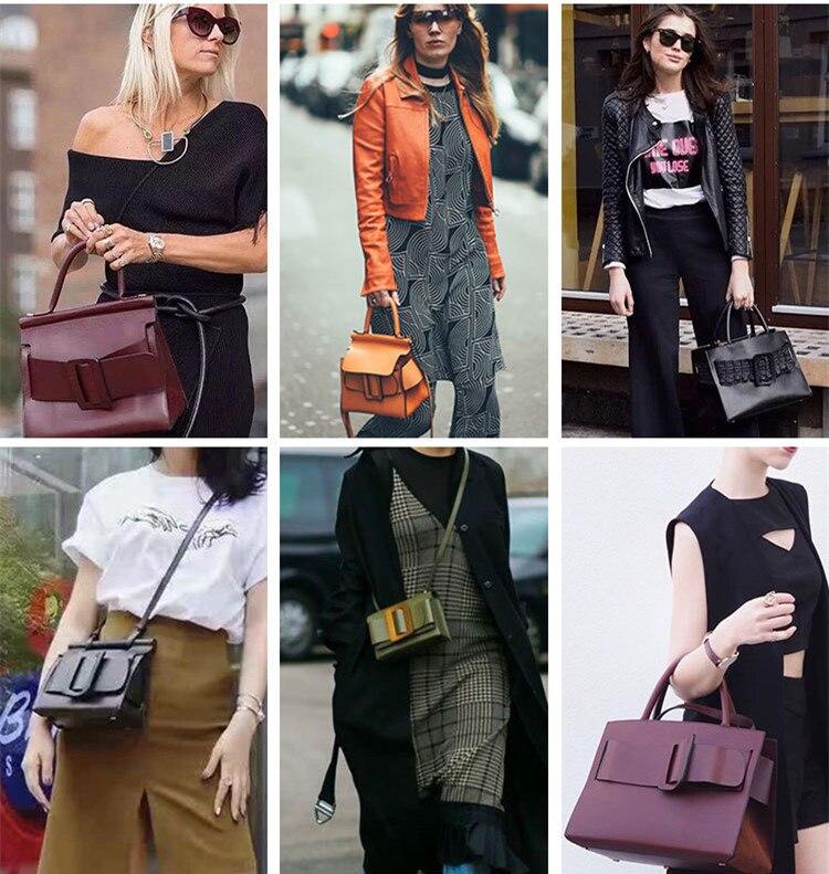 Famous Brand Designer Handbag Genuine Leather Women Vintage Bark Grain Big Buckle Handle bags with strap belt boyy