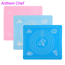 50*40cm Silicone Baking Cake Dough Fondant Rolling Kneading Mat Baking Mat With Scale NHT037(China)