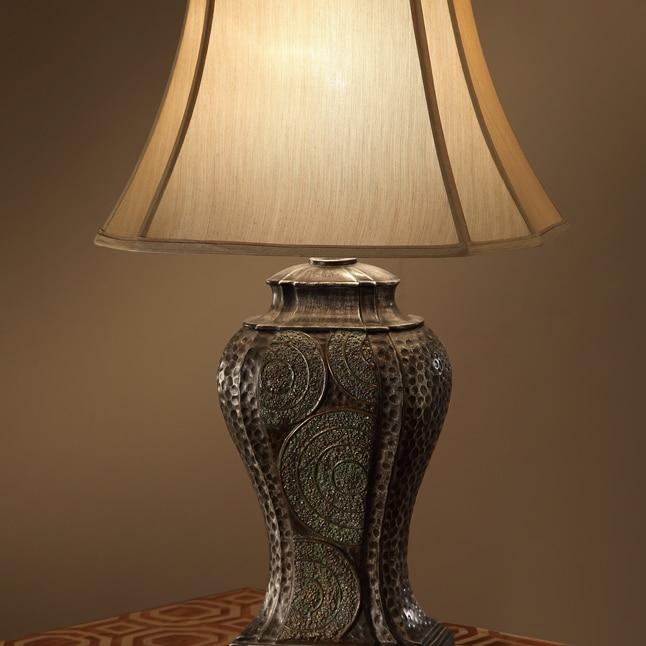 Corner Square Shade Table Lamp With Vase Design Base Bronze Set of 2