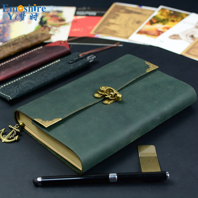 New Sketchbook Stationery Agenda Vintage Diary Notebook Writing Pockets Book Leather Cover Loose Blank Travel Journal Gift N104<br>