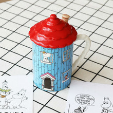 Moomin House Family Lovely Ceramic Mug Coffee Tea With Cover Muumi Finland Cartoon Milk Water Cup Festival Christmas Gift(China)