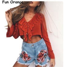 fun orange Ruffles lace up chiffon blouse shirt women Sexy v neck flare sleeve tassel tank top 2017 Summer beach short blusas(China)