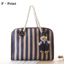 Navy Style Vertical Striped Handbag Fashion Straw Tote Bag Shoulder Bag Ladies Party Leisure Knitting Top-handle Beach Bags