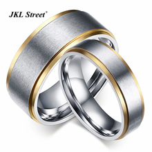 Fringe Gold Color Lovers Rings 6mm/8mm Stainless Steel Wire-drawing Wedding Bands Ring For Couple SFC020