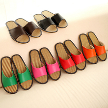 Knit Bamboo Couple Rattan Mat Pu Leather Summer Pantuflas Pantofole Donna Women Pink Slippers Women Shoes Men Chinelo Masculino(China)