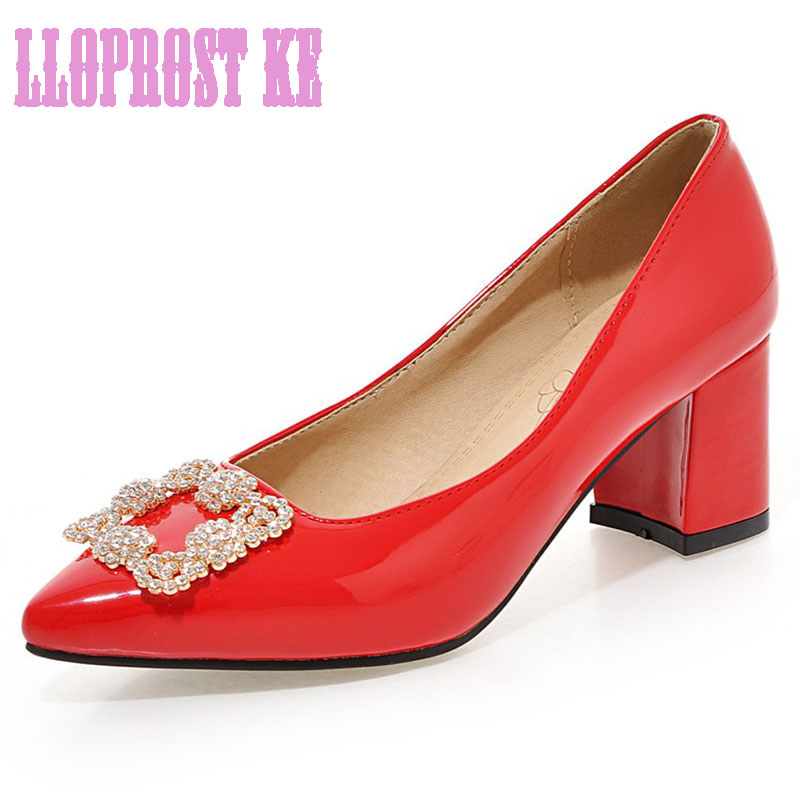 LLOPROST KE Women Shoes Pointed Toe Pumps Patent Leather Dress Shoes High Heels Wedding shoes Crystal Metal zapatos mujerDXJ1904<br><br>Aliexpress