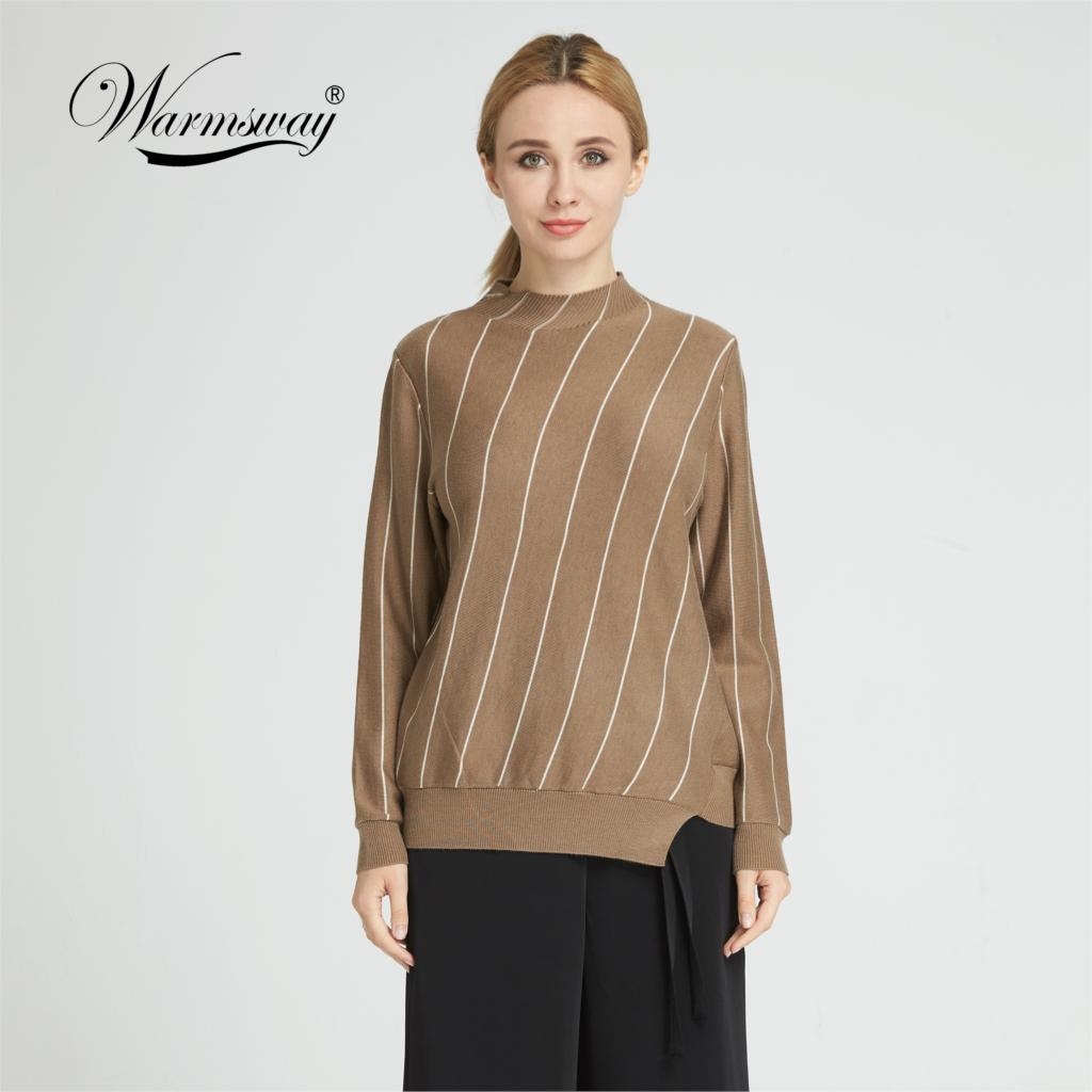 Warmsway Autumn Winter asymmetrical  Turtleneck Sweater Women Fashion Knitted Casual Pullover  Pull Femme Loose jumper  C-151