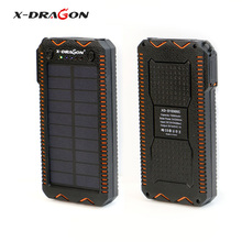 X-DRAGON Waterproof Solar Panel Charger 15000 mAh Portable Solar Charger with Cigarette Lighter, SOS Strobe LED Lighting.(China)