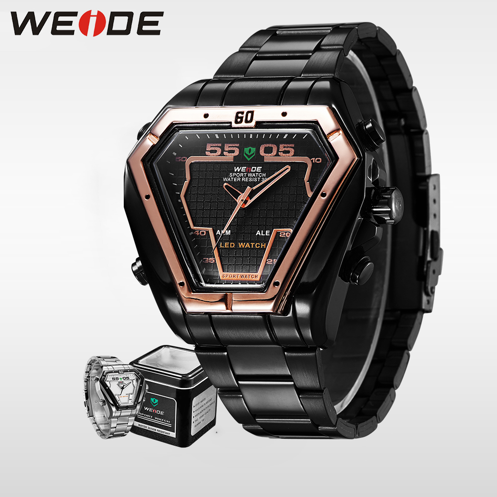 WEIDE Sport Digital Watch Men Luxury Brand Quartz Wristwatches Military Waterproof watch srainless steel bracelets 21mm WH1102<br>