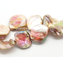 Doreen Box 2 Strands Lightpink AB Color Shell Loose Beads 13mmx11mm-22mmx20mm (B18752)