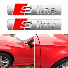 Car-styling 2pcs Emblem Car logo Sticker Sline S Line Car Door Waist Emblem Badge Sticker Audi A1 A3 A4L A5 A7 A6 S3 S6 S8