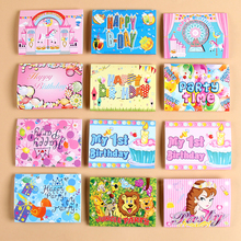 6pcs Paper Birthday Invitation Card Children Cartoon Crown Happy Birthday Party Invitation Cards Kids Greeting Cards Supplies