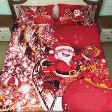 xmas bedding set kids duvet cover set twin/full/queen size, Santa Claus and his gift bag, 100% cotton Red 3D christmas bedding