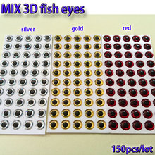 2017MIX fishing lure eyes fly fishing fish eyes fly tying material ,lure baits making silver+gold+red mix toatl 150pcs/lot(China)