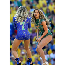 FREE SHIPPING Sexy Queen Custom Made Blue World Cup Classic Brazil Digita Embroidery Number 7 Dance Leotard Shirts Women Rompers