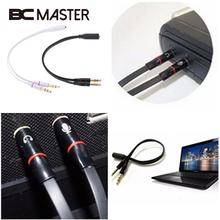 BCMaster 3.5mm Y Splitter 2 Male to 1 Female Plug Speaker Mic Audio Adapter Cable Compact Professional Audio Video Cables(China)