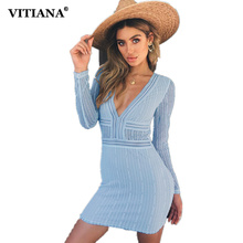 Buy VITIANA Women Sexy Short Slim Party Dress Female 2018 Summer Long Sleeve V-Neck Mesh Lace Elegant Bodycon Beach Casual Dresses for $11.32 in AliExpress store