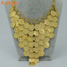 Anniyo 45CM + 5CM / Metal Coin Necklace for Women Gold Color Coin Big Necklaces Africa Jewelry Ethiopian Luck Gift #006006
