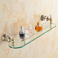 Free Shipping Wall Mounted Crystal & Brass Bathroom Shelf Double Shelf Pure Crystal & Glass,Bathroom Hardware Accessories 4542