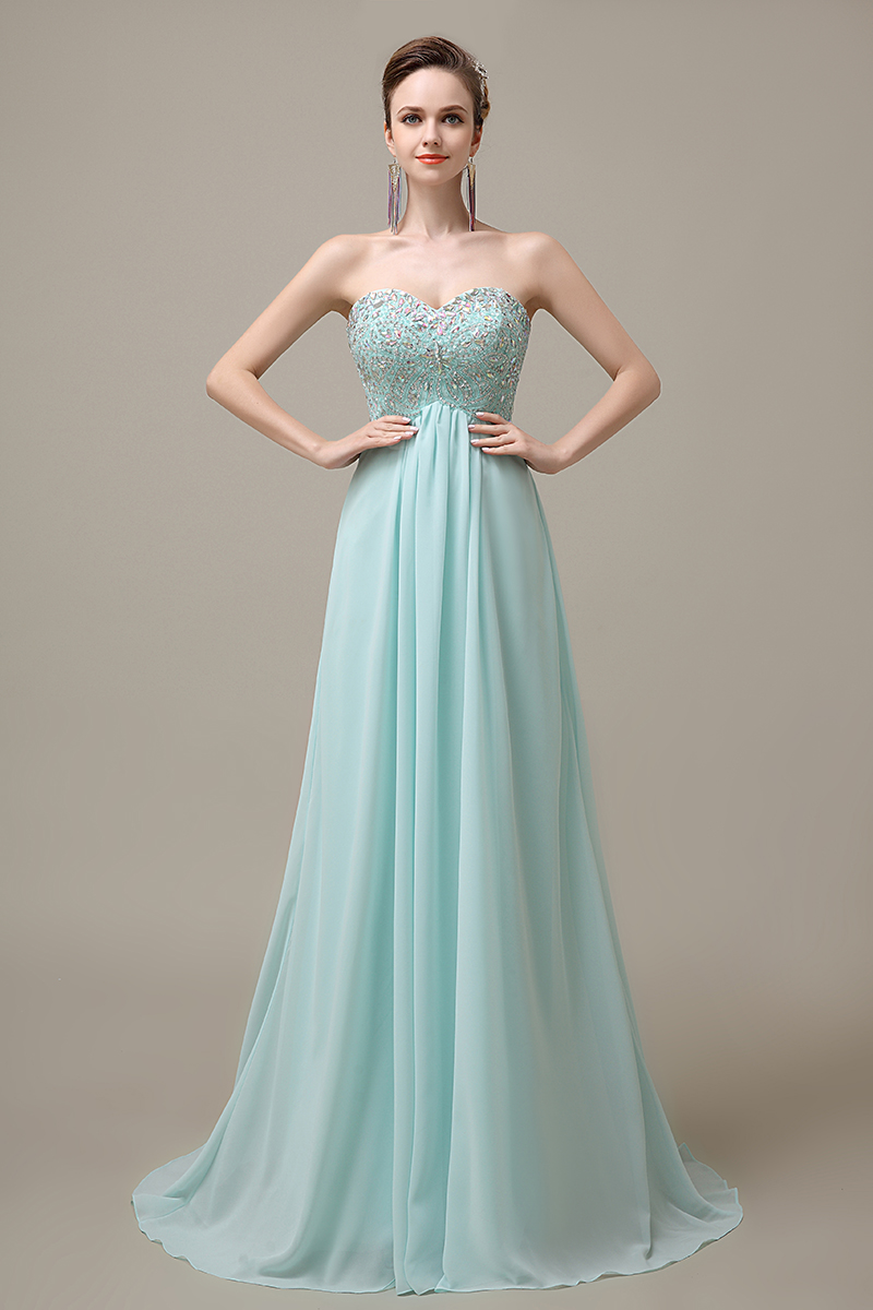 Light Blue Sweetheart Chiffon Evening Dress