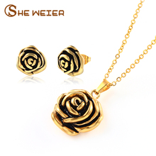SHE WEIER Flower Wedding Stainless Steel Jewelry Sets For Women Bowknot Rose Dubai Jewelry Sets African Jewellery(China)