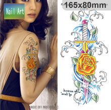 Temporary tattoos Waterproof tattoo stickers body art Painting for party decoration yellow rose sword leaf
