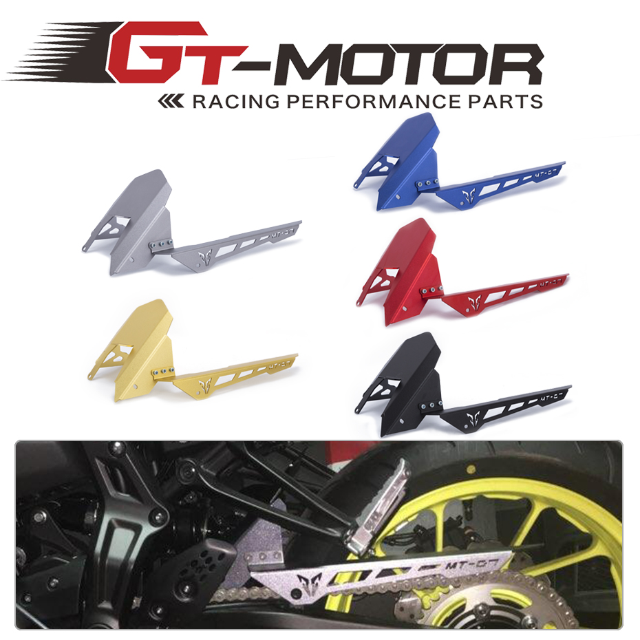 GT Motor - Free Shipping CNC Aluminum Rear Tire Hugger Fender Mudguard Chain Guard Cover For Yamaha MT07 MT-07 13-17 FZ07 15-17<br>