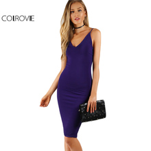 Buy COLROVIE Sexy Bodycon Basic Club Dress Navy Sleek Women Brief V Neck Slip Summer Party Dresses 2017 Sleeveless Midi Jersey Dress for $15.99 in AliExpress store