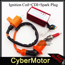 Racing 5 Pins Wires Aluminum AC CDI Box Ignition Coil A7TC Spark Plug For Spree SYM DD50 Dio Elite SB SA 50 Scooter Moped