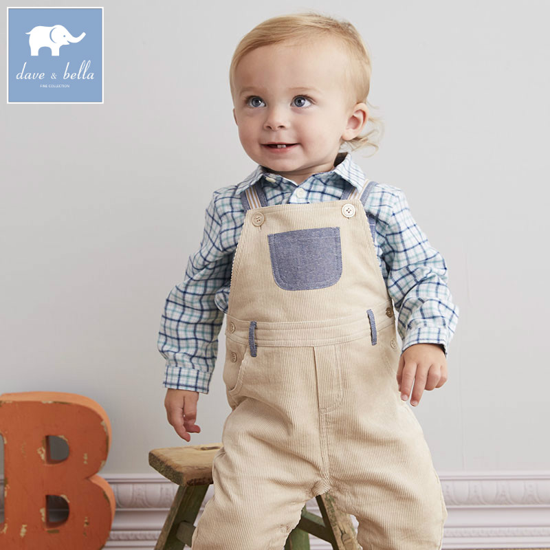 DB5444 dave bella autumn toddle overalls baby boys 100% cotton overalls infant clothes baby cute overalls<br>
