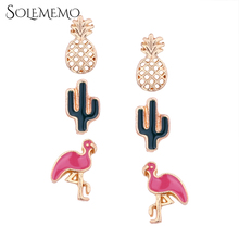 Buy Solememo 3 Pairs/Set Pineapple Crane Animal Gold Stud Earrings Set Small Cute Stud Earrings Set Women Jewelry Accessories E1940 for $2.12 in AliExpress store