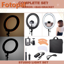 Fotopal LED Video Photo Light on Camera Phone Holder Dimmable LED Annular Lamp 240 LED Ring Light For DV DSLR With Mirror Bags(China)