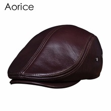 HL042 men's genuine leather baseball caps hats brand new cow skin beret  hat cap