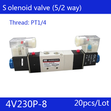 "20PCS Free Shipping 1/4"" 2 Position 5 Port Air Solenoid Valves 4V230P-08 Pneumatic Control Valve , DC24v AC36v AC110v 220v 380v(China)"