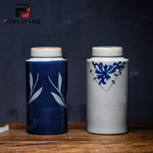 Jingdezhen Vintage Hand Painted Blue and White Porcelain Tea Can Home Pu'er Ceramic Under Glazed Damp-proof Straight Sealed Jar(China)