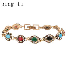Bing Tu Brand Lucky Women Charm Jewelry Fashion Mixed Colors Resin Chain Bracelets Vintage Gift bijoux pulseira(China)