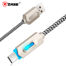 ZRSE LED USB Type C Cable for Samsung Galaxy S8 Note 8 Fast Charging Data Type-C Nylon Mobile Phone Charger Cable for Xiaomi Mi5(China)