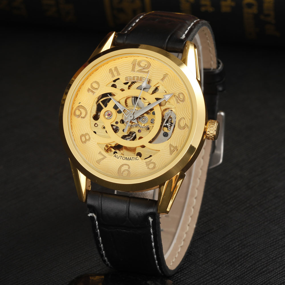 GOER famous brand men watches luxury automatic self wind watch skeleton dials transparent glass gold case leather band<br><br>Aliexpress