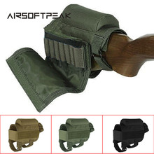 AIRSOFTPEAK Adjustable Tactical Buttstock Rifle Cheek Rest Pouch Holder with Ammo Carrier Case Rifle Ammo Round Cartridge bag(China)