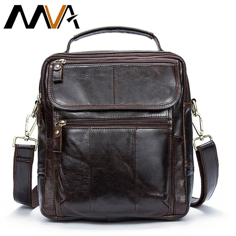 MVA Genuine Leather Mens Bags Male Crossbody Bags Small Flap Casual Messenger Bag Mens Shoulder Bag genuine leather Skin 8870<br>