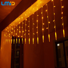 Holiday Lighting 4x0.6M Icicle Colorful Fairy Xmas LED Curtain String luminarias Garland Decoration Christmas LED Light(China)