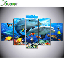 YOGOTOP DIY Diamond Painting Cross Stitch Needlework 5D Diamond Embroidery Full Diamond Set Decorative dolphins 5pcs/set ML006