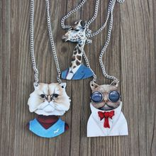 Yiwu Factory Brand Silver Color Jewelry Fashion Pets Favor Mister Vivid Dog Lovely Giraffe Cat Wood Animal Necklace for Unisex